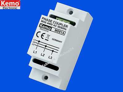 KEMO M091A Phasenkoppler POWERLINE 10-650 mBit Phasen-Koppler Hutschienenmontage