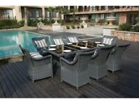**FREE & FAST UK DELIVERY** Luxury Garden Patio Rectangle Rattan Dining Table Set with 8 Chairs