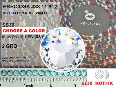 30ss HOTFIX, 288pc Preciosa VIVA Ironon Flatbacks Gen. Czech Crystals 6.5mm ss30 - 288 Pc
