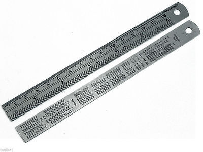 """LOOK"" 150mm/6"" Stainless Steel Rule Metric/Imperial conversion table on back UK"