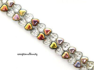 - 50 Vitrail Fancy Finish Preciosa Czech Pressed Glass 6mm Puffed Heart Beads