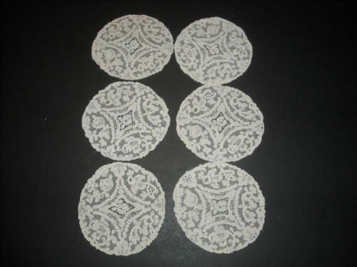 Vintage Antique 6 Lace Coasters Off White Cream