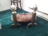 Brass logs holder for the fireplace