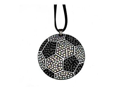 Faceted Crystal Pave Soccer Pendant Necklace ~ Fashion Gift Idea!