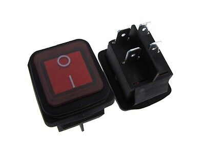 4-pin 16a 250vac Waterproof Rocker Switch Panel Mount Snap-in - Round Red