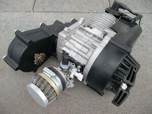 Pocket bike Motor 49ccm 2 Takter Komplett mit Sportgetriebe Vergaser Seilzug