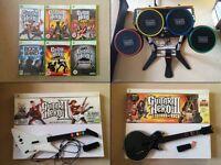 Xbox 360 - Rock Band/Guitar Hero (6 games, 2 guitars, drums)