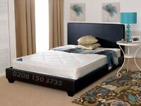 STYLISH LOW FRAME FAUX LEATHER DOUBLE BED BLACK/BROWN MATTRESS OPTION AVAILABLE