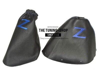 """Shift & E Brake Boot For Nissan 350Z 2002-2009 Leather """"Z"""" Blue Embroidery"""