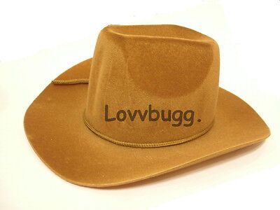 "Lovvbugg Dark Tan Cowboy Hat for 18"" American Girl n Bitty Baby Doll Clothes"