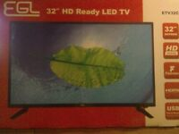 """32"""" LED TV BRAND NEW IN BOX HDMI PORTS USB BUILTIN FREEVIEW NO STAND NO REMOTE VERY SLIM CAN DELIVER"""