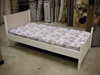 White single bed frame and mattress. Made from flatpack leftovers. Sturdy