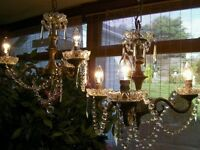 A ~BEAUTIFUL Pair~ OF REAL FRENCH 3 LIGHT CHANDELIERS IN LEAD CRYSTAL