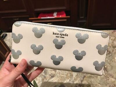New Disney Kate Spade Mickey Mouse Icon Glitter ZIP Around Wallet