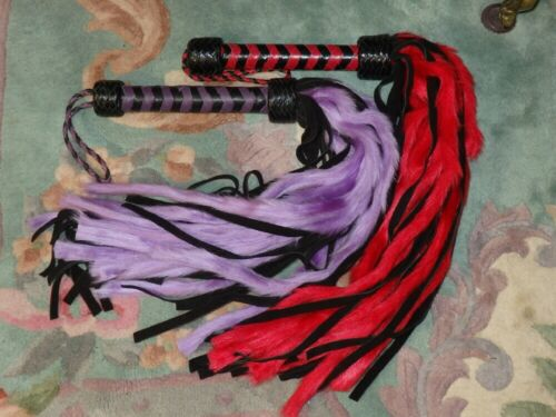 PURPLE or RED FUR Leather MOP Flogger - GREAT HORSE & LIVESTOCK TRAINING TOOL