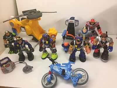 Fisher Price Rescue Heroes Action Figures Lot Helicopter Bike Space