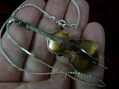 (M-12-C) STRING BASS Pendant NECKLACE Jewelry Musical Instrument Italian Solo