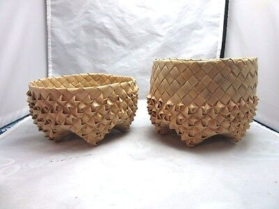 Vtg stacking Hand woven basket bowls set for chips, breadsticks....