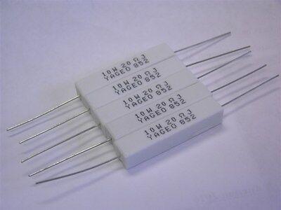 - 5 Yageo SQP10AJB-20R 20 Ohm 10W 5% Axial Wirewound Cement Power Resistors