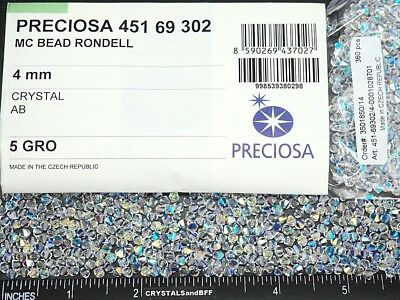 720 Preciosa Genuine Czech Crystals, Bicone Beads 4mm Crystal AB, clear Aurora B