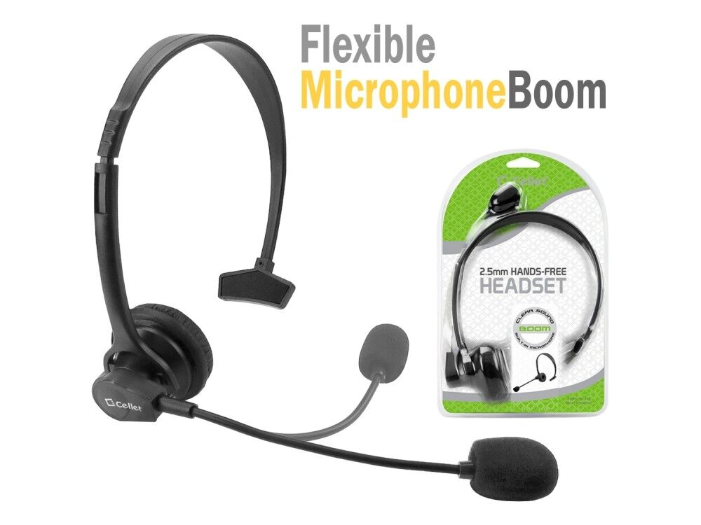 Cellet 2.5mm Hands-Free Headset with Boom Mic for Home Offic