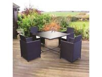 **FREE & FAST UK DELIVERY** Outdoor Black Rattan Effect 5 Piece Cube Table & Chair Dining Set