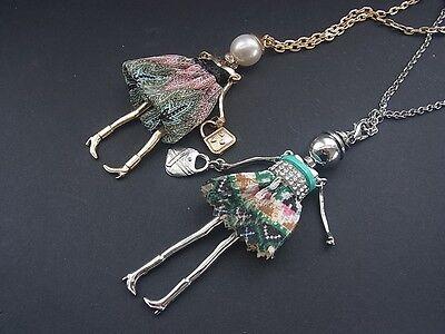 Kette Halskette Lange Kette mit Anhänger Puppe Dame Frau Kleid Tasche Perle