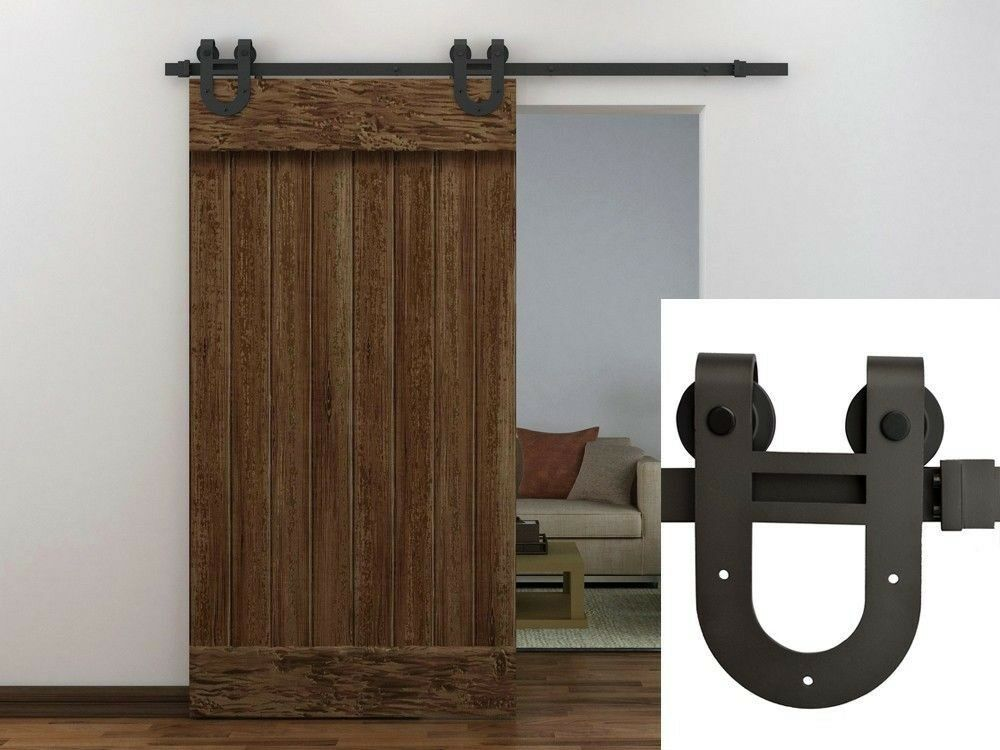 Sliding Barn Door Track : Ft dark coffee antique horseshoe barn wood sliding door