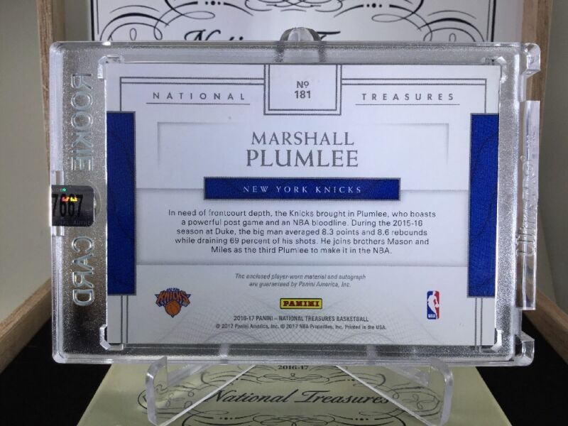 Details about 2016-17 National Treasures MARSHALL PLUMLEE RC OC Auto 3Clr  Patch /49 RPA Knicks