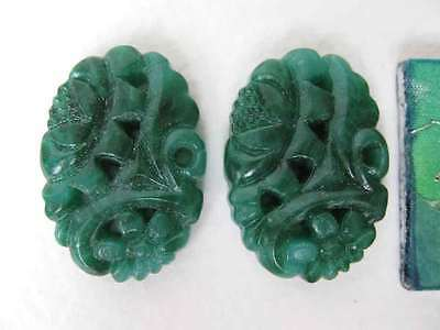Vintage Glass Cabochon Flower Jade Green Carved Style Japan 25x18mm