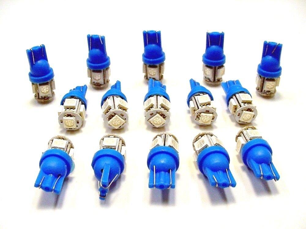 15 BRIGHT Blue 5 LEDs 12V Side Marker License Plate Clock Dash Lights Bulbs Ford