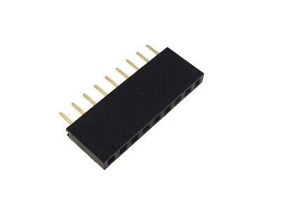 9p 1x9 Pin 2.54mm Female Header - Black- Pack Of 10