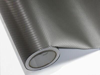 3D Grau Carbonfolie Auto Folie 500 cm x 152 cm Blasenfrei Luftkanäle D36