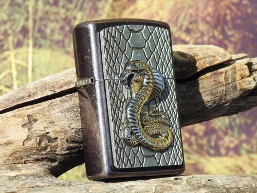 Zippo Lighter - Golden Cobra Emblem - European - Snake - Green Swarovski Crystal