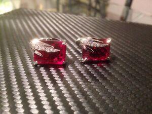 luxury silver cufflinks with deep red stone stunning