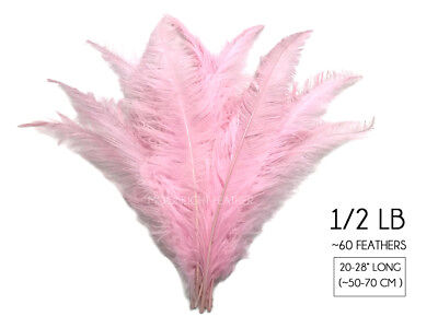 Gatsby Center Pieces (1/2 Lb - Light Pink Ostrich Spads Wholesale Feathers 20-28