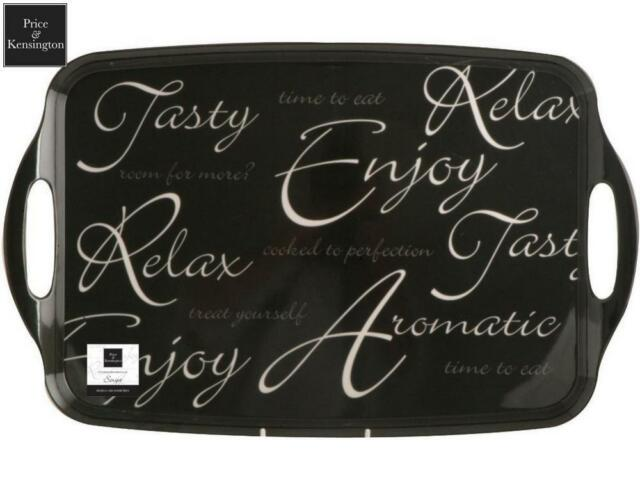 Price & Kensington Script Tray Black Drinks Snacks Serveware Kitchen Home New