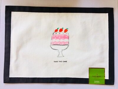 New Kate Spade Table placemats set of 4 black white Take the Cake pink