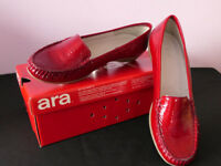 Ara Women's Rounded Toe Loafers in Red