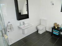 modern rectangular sink and half pedestal