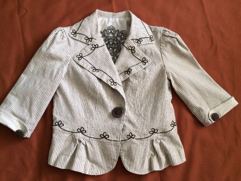 Ladies Petite Brown Beige Stripe One Button Jacket Blazer 3/4 Sleeve Size L