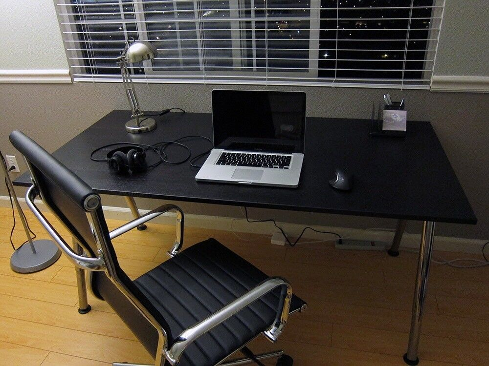 Ikea Galant Black Glass Desk