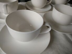 John Lewis Contour white bone china tea Cup & Saucer Set of 8