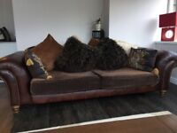 Ghillies leather and fabric sofa
