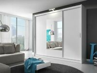 VIKI Sliding Door Wardrobe White Delivery 1-3 days Brand New We Can Delivered 250cm