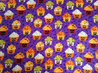 HALLOWEEN CUPCAKE FACES JACK O LANTERNS VALANCE CURTAIN - Halloween Cupcake Faces