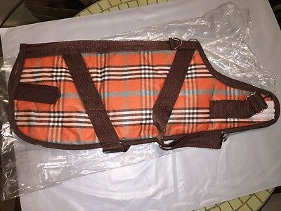 "CANINE STYLES Dog Horse Harness Coat Orange Plaid Fur Lining Sherpa Sz 12""NEW!"