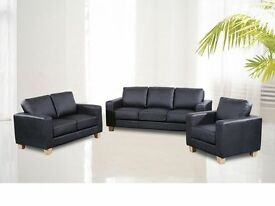 **100% GUARANTEED PRICE!**BRAND NEW-Luxury Italian Bonded Leather Sofa Set3 2&1 Seater-Complete Set
