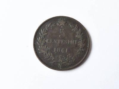 alte Münze 5 Centesimi  Italien   1861  A80