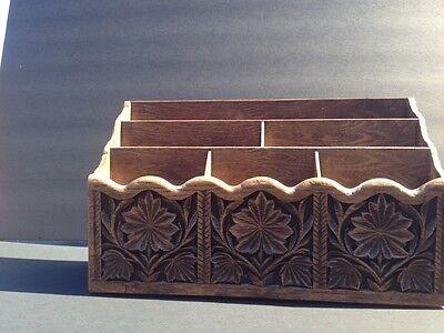 Vtg Lerner Plastic Desk Caddy Organizer Box Paper Holder Letter Faux-wood Tray